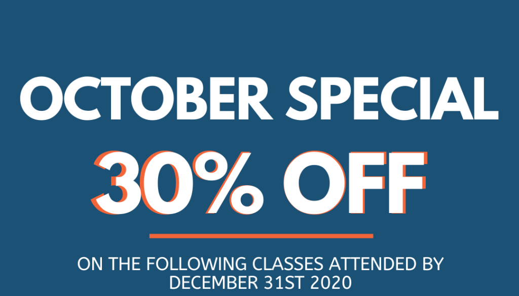 October Promotion on specific classes 30% Off