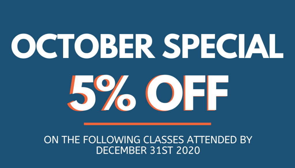 October Promotion of 5% on classes