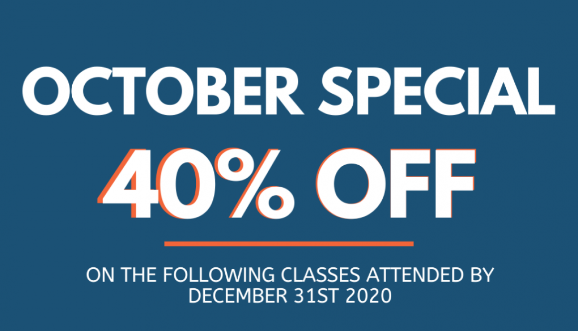 October Promotions of 40% on classes
